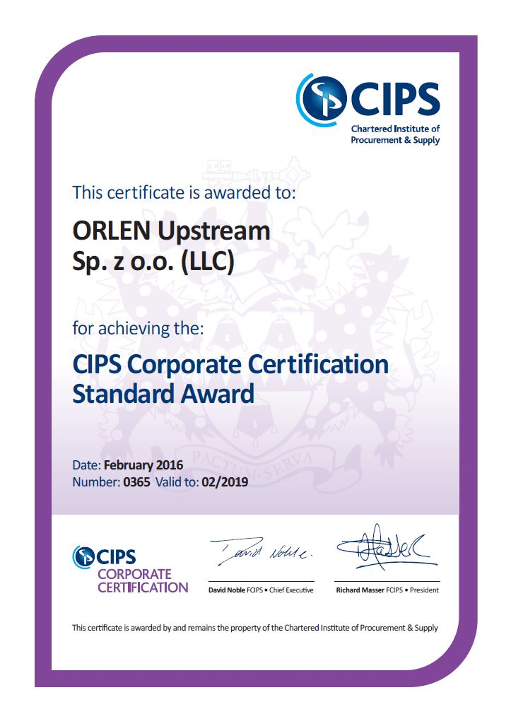 Orlen upstream cips certificate xflitez Image collections